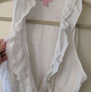 Lilly Pulitzer EUC White Eyelet Wrap Dress sz 12